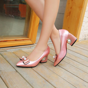 Pointed Toe Rhinestone Bow Chunky Heel Pumps Bridal Shoes 4351