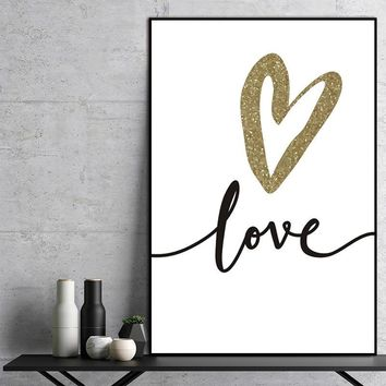 Nordic Pictures Canvas Painting wall art print  Abstract Love Letter Golden Black Wall Pictures Living Room Art Decoration