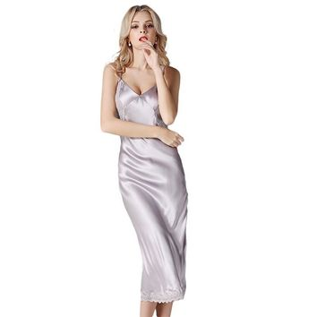 Solid Color Silk Satin Long Women Nightgown Lace Elegant Nightdress Party Dress Chemises Full Slips Trim Nightie sp0064