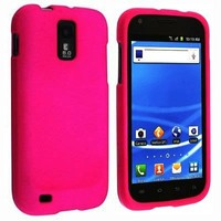 Rubberized Hard Snap-on Protector Shell Face Plate Case for Samsung Hercules T989 Galaxy S2 T-Mobile - Hot Pink