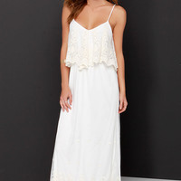 Stand in Awe Cream and Ivory Lace Maxi Dress