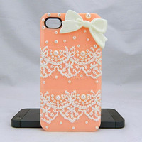 Lace case white bow  iPhone case,bling iphone 6 case,Crystal iphone 6 Plus,Rhinestone iphone 5/5S/5c,iphone 4 case samsung galaxy S3/S4/S5