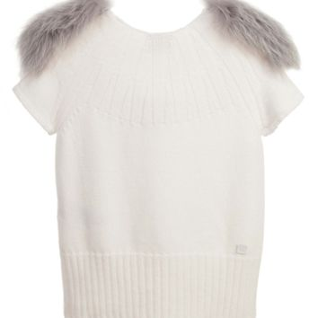 Fendi Girls Ivory Top with Fur