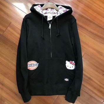 Dickies HelloKitty Fashion Print Sport Cardigan Jacket Coat Sweatshirt G-A-HRWM