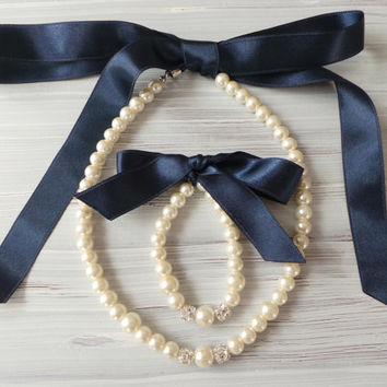 Flower girl jewelry set pearl necklace bracelet set NAVY BLUE satin ribbon wedding gift junior bridesmaid pearl bracelet wedding party