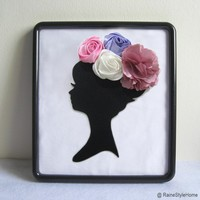 Wall Decoration Dreaming Of Spring. Framed Art. Cameo Lady With Pretty Rosettes. White. Pink