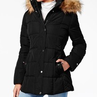 Tommy Hilfiger Faux-Fur-Trim Hooded Puffer Coat Women - Coats - Macy's