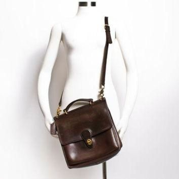 Vintage Coach Purse - 80s Brown Leather Coach Willis Adjustable Cross Body Satchel Bag - Beauty Ticks
