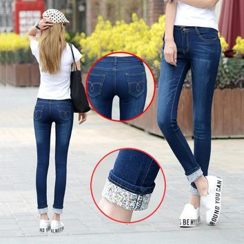 e6f3a3fb15c 6 EXTRA LARGE Jeans Women Models Two Cuffs Worn Jeans Female Casual Trousers  Pencil Pants Jeans