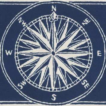 "Compass Navy 30"" x 48"" Indoor/Outdoor Rug"