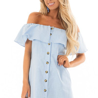 Powder Blue Off Shoulder Button Up Dress with Ruffle Detail