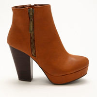 Chestnut Side Buckle Booties
