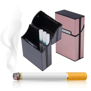 Cigarettes Slim Aluminum Cigarette Case Cigar Tobacco Holder Pocket Box Storage Container Smoking Accessories 90 x 58 x 26mm