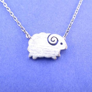 Little Mountain Goat Ram Sheep Shaped Animal Charm Necklace in Silver