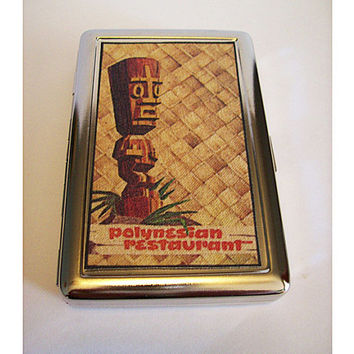 retro tiki metal wallet vintage 1950's rockabilly cigarette case kitsch