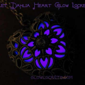 Violet Dahlia Heart Glow Locket