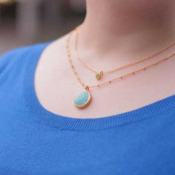 Boho Layering Necklace. Semiprecious necklace. Turquoise layering necklace. Blue jade necklace.