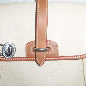 "ON Sale!!! - Authentic Vintage Cream and Brown Dooney And Bourke Small Saddle bag ""The Surrey"" - WAS 65.00 - NOW 50.00"