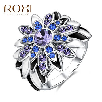 ROXI Fashion Women Lady Rings Sunflower Nation Jewelry New Exquisite White/ Rose Gold Color Finger Ring For Party Wedding Gift