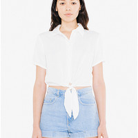 Viscose Twill Mid-Length Tie-Up Blouse | American Apparel