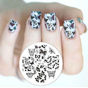 Various Butterfly Nail Art Stamping Template Image Plate BORN PRETTY BP74