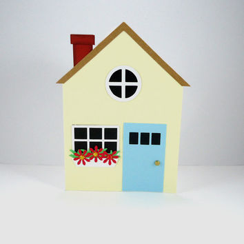 Housewarming Card, New Home Card, Handmade House Card, House Shaped card, Congratulations on your new home, Ivory Blue