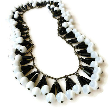 Art Deco Czech Necklace - Black White, Egyptian Revival, Fringe Necklace, Art Deco Jewelry, Antique Jewelry