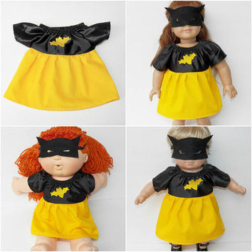Cabbage Patch Doll Clothes, Bitty Baby, 15 inch 16 inch 18 inch dolls,  Bat Girl, Dress & Mask, Yellow Black, adorabledolldesigns new