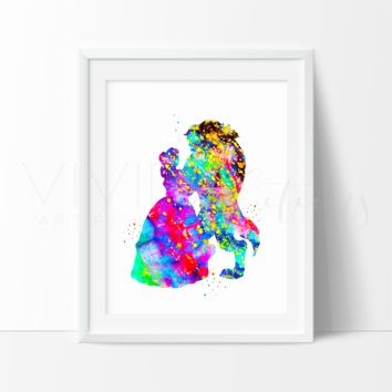 Beauty and the Beast 2 Watercolor Art Print