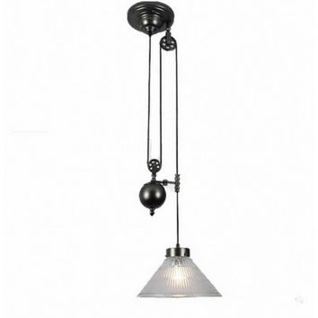 Up and down adjustable edison retro industrial countryside pulley pendant lamp light with clear glass shade