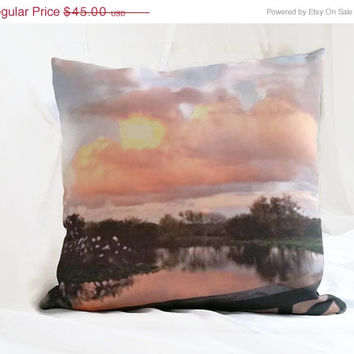 On Sale Summer Sunset Peach Pink Pillow,Nature Photography Pillow,Natural Photo Throw Pillow,Fine Art Photography,Original Artwork Toss Pill
