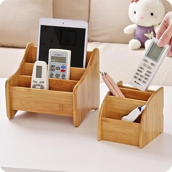 Vintage bamboo Storage Box Remote Controller Holder Jewllery Stationery Container Home Storage Tools Sundries Organizer natural
