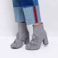 Glamorous Grey Knotted Bow Heeled Ankle Boots at asos.com