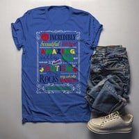 Men's Autism Dad Shirt Autism Awareness Shirts Awesome Rocks My World Autism T Shirt