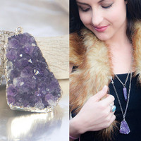 Raw Amethyst Healing Crystal Necklace | Amethyst Cluster Druzy Necklace | Geode Pendant Rough Gemstone Purple Necklace Violet Quartz Pendant