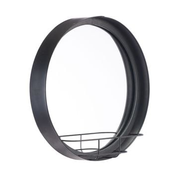 Round Mirror Shelf Sm Antique Black