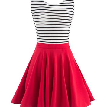 Casual Lovely Cutout Striped Skater Dress
