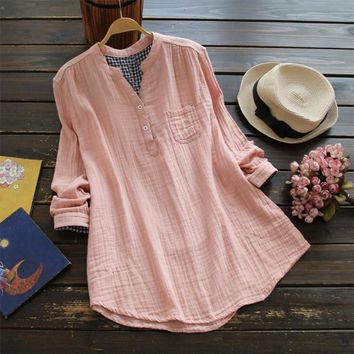 Plus Size ZANZEA Women Cotton Linen Blouse Solid V Neck Long Sleeve Buttons Pockets Autumn Feminina Blusas Summer Loose Shirt