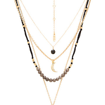 Layered Beaded Charm Necklace in Gold & Black