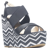 Chevron Stitch Strap Wedge Sandals | Wet Seal