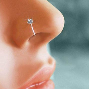 Small Thin Flower Clear Crystal Nose Ring Stud Hoop-Sparkly Crystal Nose Ring