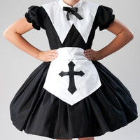 Cute Nun Salem Witch Halloween Costume Gothic Lolita Nun Dress Apron with Cross and Collar  Womens Small Medium Large Xlarge 2X or 3X
