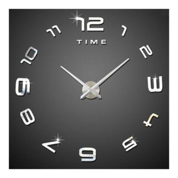 Living Room Silent Wall Clock Super Large Size Acrylic DIY Simple   silver