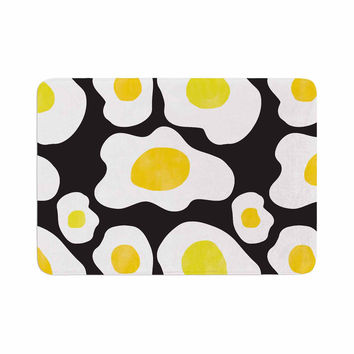 "Vasare Nar ""Fried Eggs Pattern"" Yellow Pop Art Memory Foam Bath Mat"