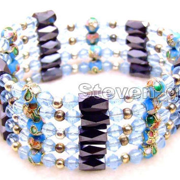 "SALE Round 6mm Sky-Blue Cloisonne Hematite Magnetic Beads & Blue Crystal Tibetan Silver Beads 29"" Necklace/Bracelet -bra276"