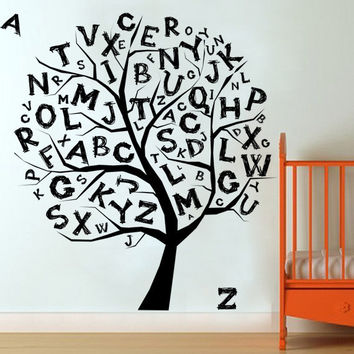 I220 Wall Decal Vinyl Sticker Art Decor Design tree wood alphabet letters kids room develop school teach  nursery Living Room Bedroom