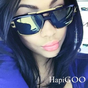 HapiGOO Classic Square Sunglasses Women Men Coating Mirror Fashion Oversized Brand Designer Big Half Frame Sun Glasses male