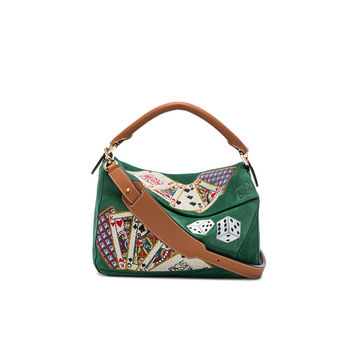 Loewe Playing Card Puzzle Bag in Green & Tan | FWRD
