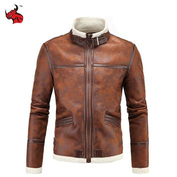 Trendy Motorcycle Jackets Men PU Leather Jacket Vintage Retro Zipper Biker Punk Classical Windproof Faux Leather Moto Jacket AT_94_13