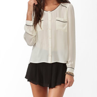 Contrast Trim Sheer Blouse | FOREVER21 - 2019651867
